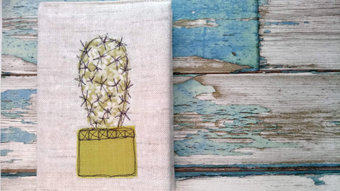 Cactus succulent embroidered fabric covered notebook