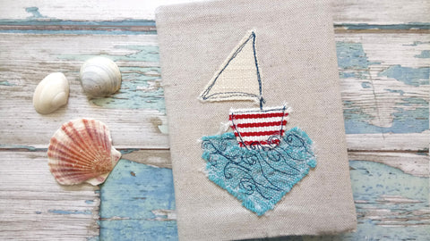 sailing boat embroidered fabric covered notebook handmade