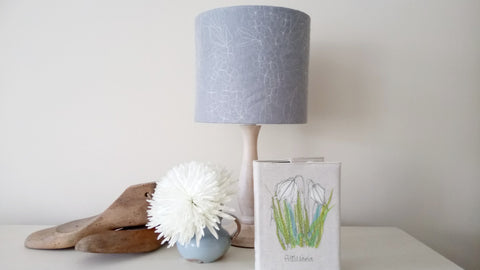 blue linen blend embroidered fabric lampshade