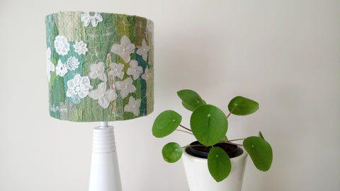 Green and white floral embroidered lampshade