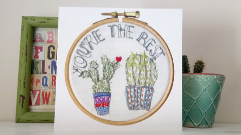 cactus in pots embroidery hoop art card