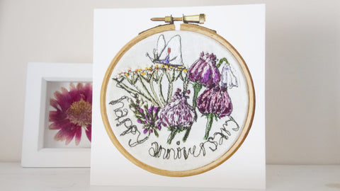 happy anniversary greetings card embroidered hoop art