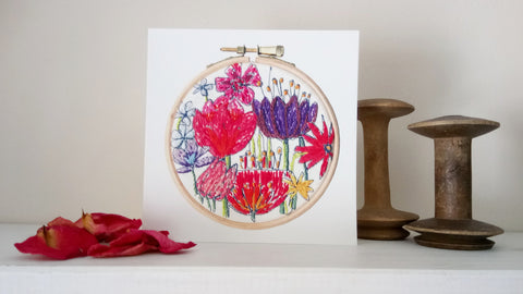 Flower bouquet embroidery card