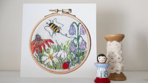 bumblebee embroidery card hoop art