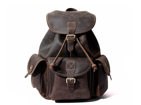 Large Leather Backpack, Ref: Mala SR-180