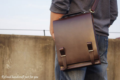 Custom Manufactured Men's leather Briefcase, Ref: Mala  SR-086