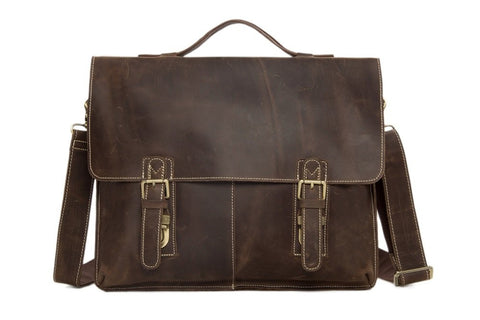 15'' Men's Vintage Leather Briefcase, Bag Ref: Mala SR-019