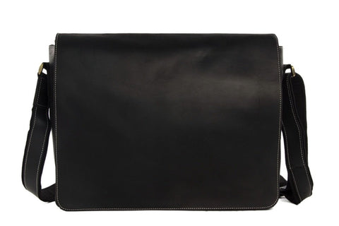 15'' Men's Large Leather Messenger Bag, Ref: Mala SR-018