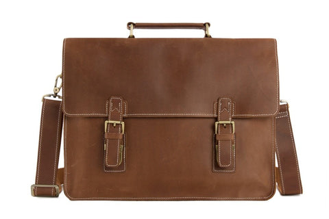 Brown Leather Briefcase,  Ref: Mala SR-030