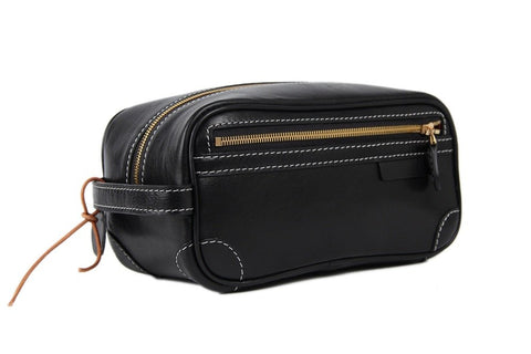 Italian Full Grain Leather Toiletry Bag, Ref: Mala SR-148