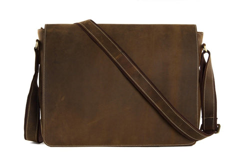 15'' Genuine Large Leather Men's Messenger Bag, Ref: Mala  SR-016
