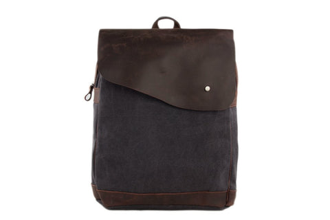 14'' Canvas Leather Backpack, Casual Backpack Ref: Mala SR-004