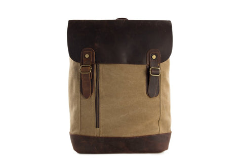 Canvas / Leather Backpack, Ref: Mala  SR-037