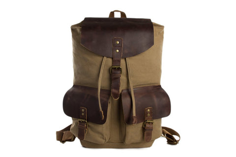 Canvas / Leather Backpack, Ref: Mala SR-038