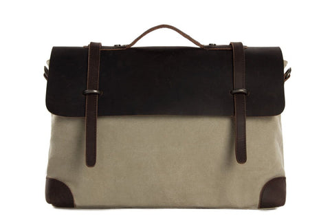 14'' Canvas Leather Briefcase, Shoulder Bag, Laptop Bag, Ref: Mala  SR-006