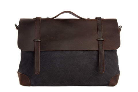 Canvas / Leather Briefcase, Ref: Mala SR-041