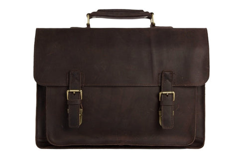 "15"" Hand Crafted Vintage Style Leather Briefcase, Ref: Mala SR-014"