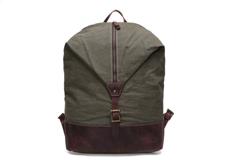 Canvas / Leather Hiking Backpack,  Ref: Mala SR-043