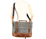 Waterproof Waxed Canvas Bag with Leather Trim, Ref: Mala SR-266