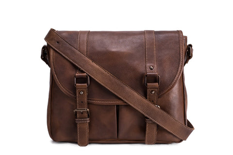 Men's Messenger Bag in Tanned Leather, Ref: Mala SR-232