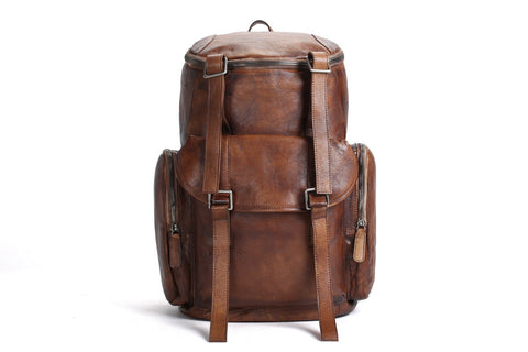 Large Leather Backpack, Ref: Mala SR-179
