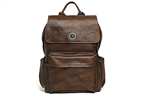 Handmade Leather School Backpack. Ref; Mala  SR-134
