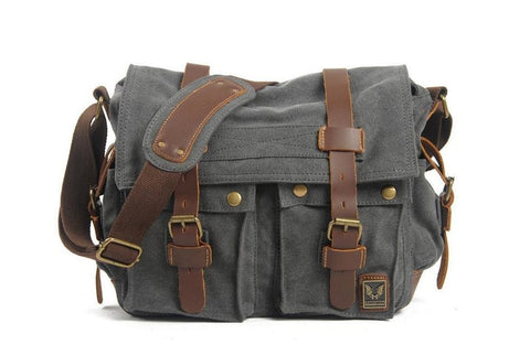 Canvas / Leather Messenger Bag, Shoulder Bag,  Ref: Mala SR-044