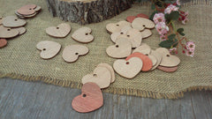 "Adorable 2"" Wooden Hearts ~ With Hole"
