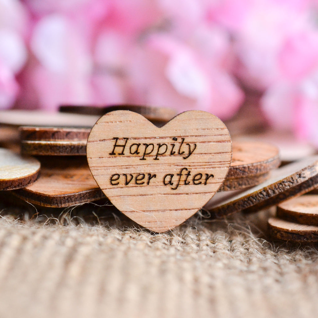 """Happily Ever After"" Wood Heart Confetti - 1"""