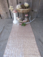 Chic Champagne Gold Sequin Table Runner