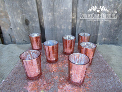 Pink Mercury Glass Candle Holders