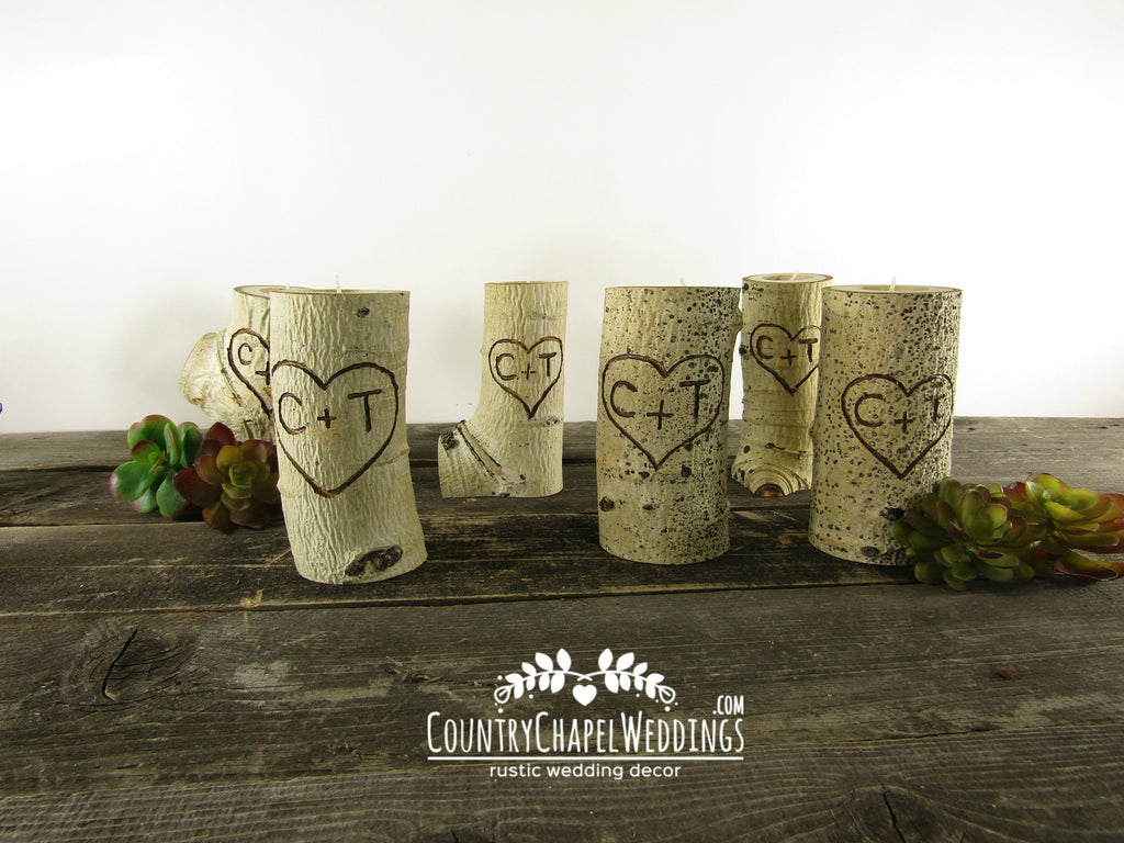 Personalized Wedding Candles ~ Heart and Initials