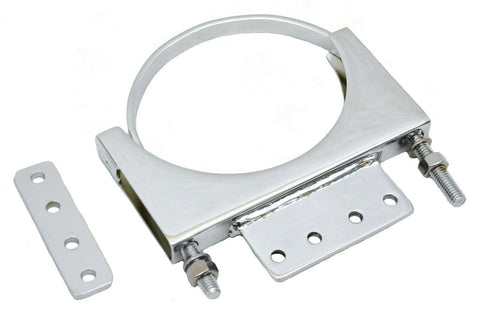"Exhaust Cab Mounting Clamp 5"" for Kenworth Chrome Steel With Tab U-Bolt Style B"