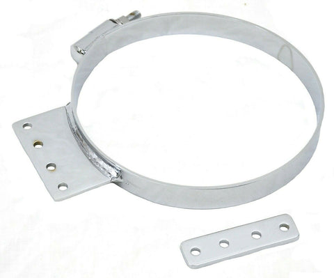 "Exhaust Cab Mounting Clamp 8"" Narrow for Kenworth Chrome Steel With Tab Style A"