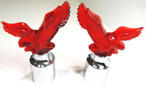 "bumper guide tops(2) eagle red plastic chrome for Peterbilt Kenworth FL 1"" I.D."
