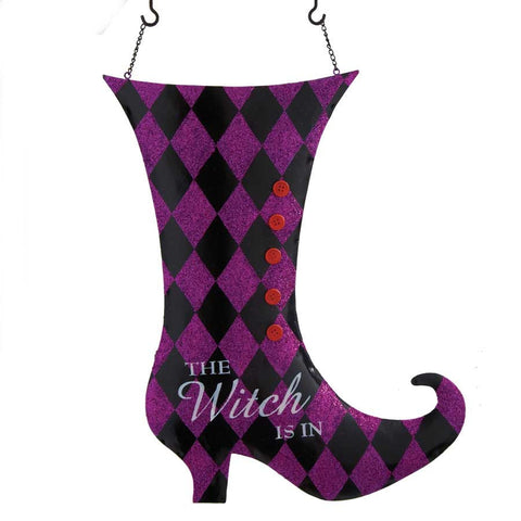 The Witch Is In Tin Boot Arrow Hanger