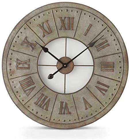 Round Tin Clock with Rusty Roman Numerals - 23.5inch