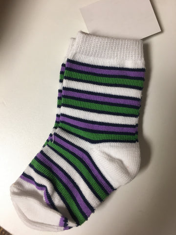 0-12 month Assorted white socks with green and purple designs