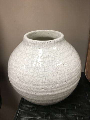 10 inch white Ceramic Round Crackled Vase