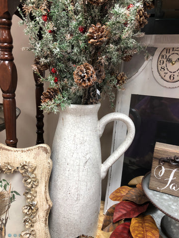 14 inch White Ceramic Crackled Pitcher
