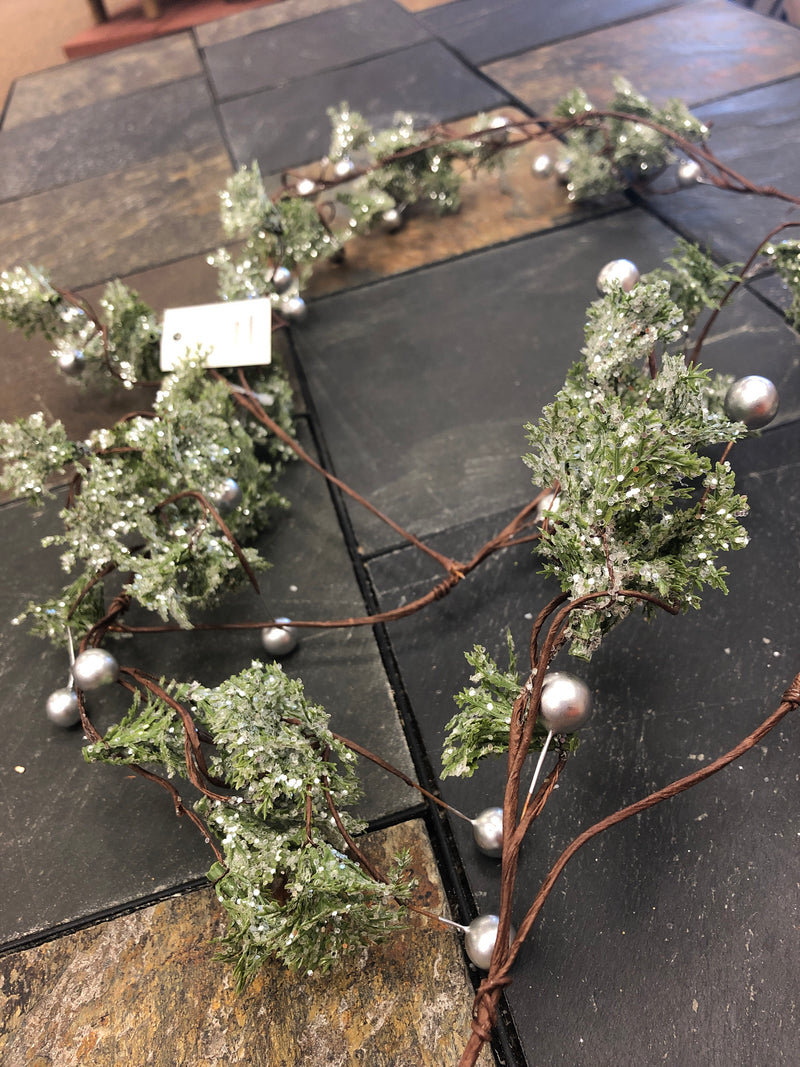 Green Glittered Garland with Silver Balls