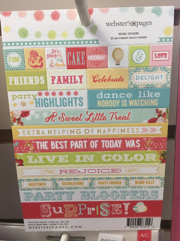 Webster's Pages - Word Stickers - Party Time Words