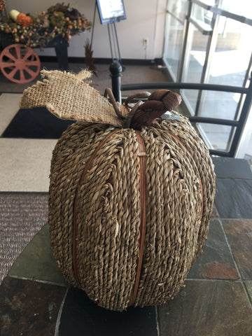 Sea Grass Natural Twine Pumpkin with Burlap - 12inch