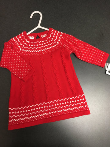 0-6 month Red Snowflake Dress