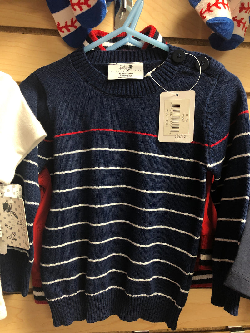 12-18 month blue pin striped pullover