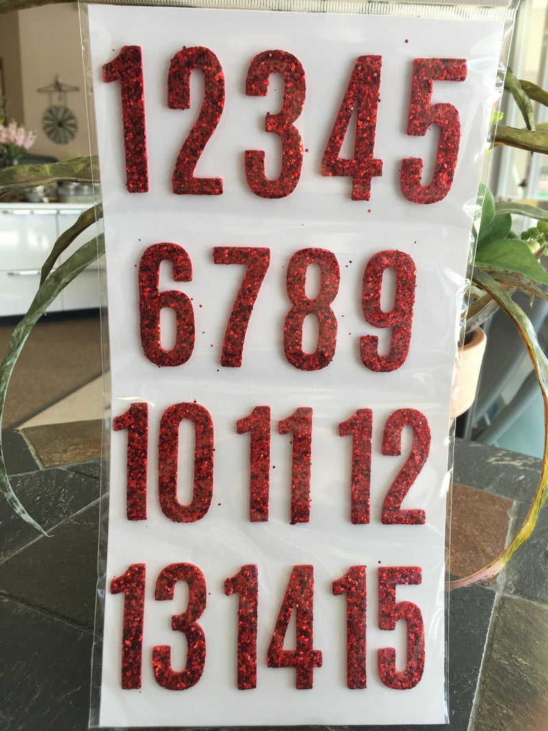 red number glitter stickers - jen - thickers