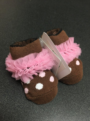 0-12 month brown/pink polka dot socks
