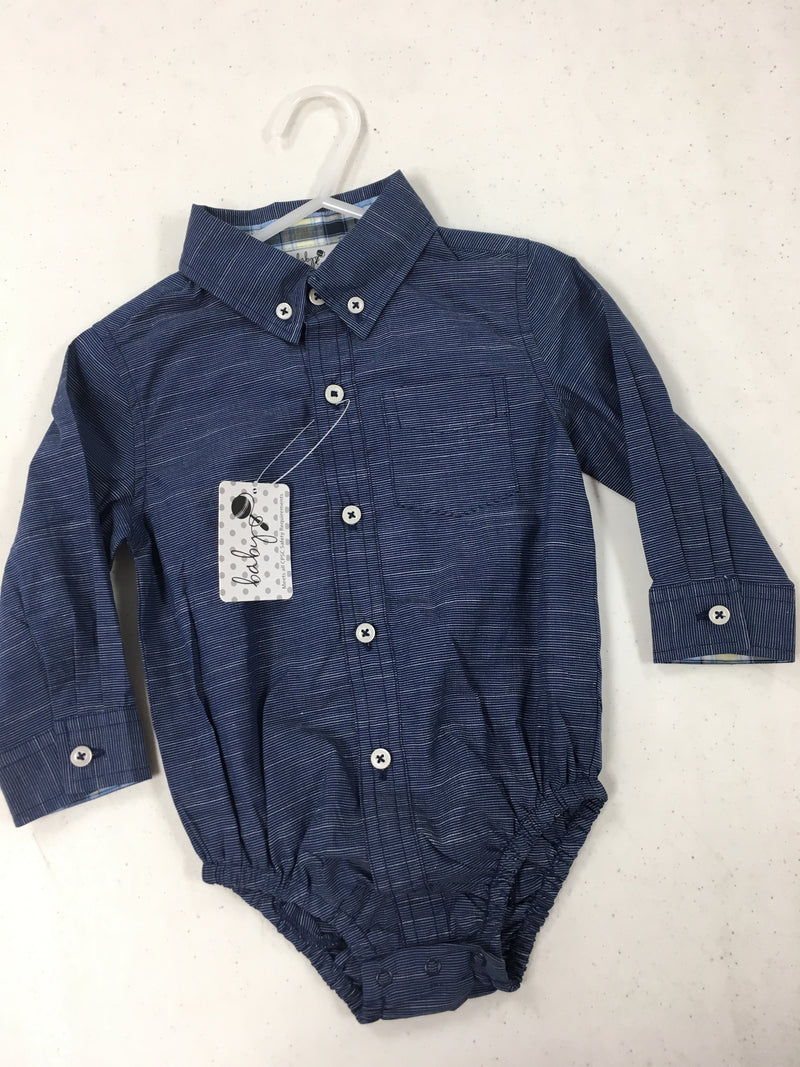 blue oxford long sleeve body suit 12-18month