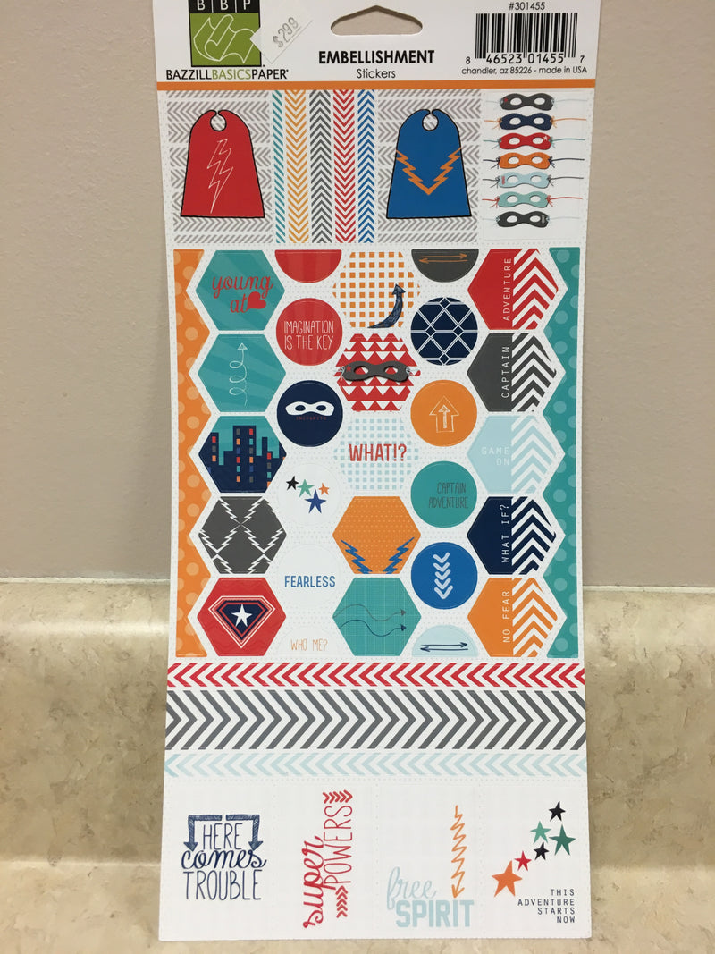 Bazzill Basic Paper - Embellishment Stickers - The Adventures Of