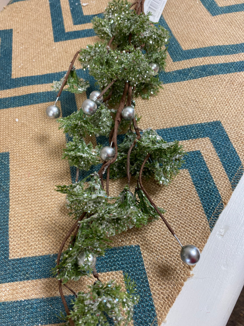 Green Glittered Stem with Silver Balls